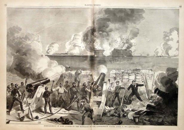 Le bombardement de Fort Sumter (12 et 13 avril 1861), considéré comme le premier acte de guerre de sécession.